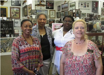 MAP Peer Reviewer, Dr. Redell Hearn with museum Staff: L to R: Dr. Hearn, Annie Grace Scott, Lekesia Bates & Cheryl Walters