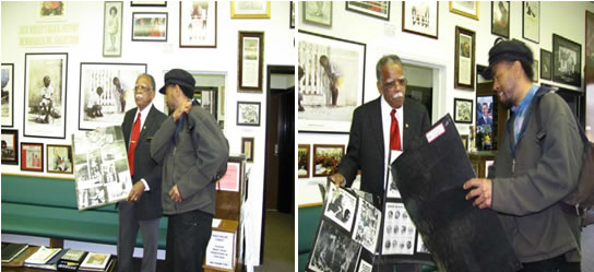 Jim lives in Walterboro, S.C., is shown visiting his father, Jack, Black History Museum, 2012. They discussed their first black history posters which they created when he was a junior at Wiesbaden High School in Germany in 1979.