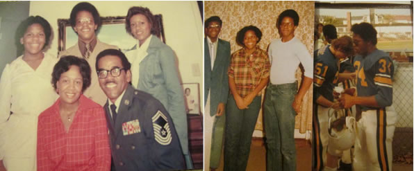 Jack and family left; at my military retirement in 1984 at Myrtle Beach S.C. and to right is Jim in white shirt and high school football uniform no. 34, with Sister Jackie and Cousin Emmett Robinson, Jr., at Wiesbaden Military High School in 1979.