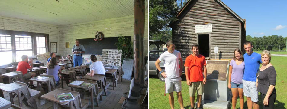 """Museum Curator James """"Jack"""" Hadley gives Thomas University students a presentation inside an authentic one room schoolhouse used to educate many of Thomas County's African American students from the early 1900s to the 1950s."""