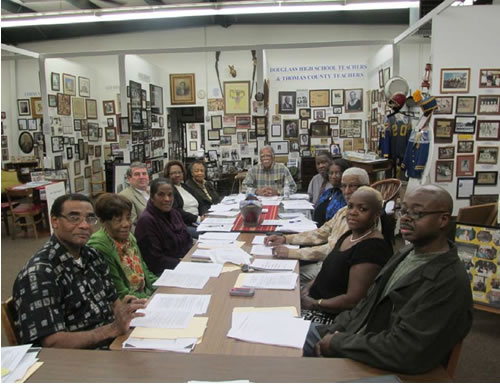 "Museum's Board of Directors: Left to Right: Dr. Virgil Murray, Sr, Dorothy M. Jones, Lillie H. Witherspoon, Don Sims, Dorothy Borden, Chris Hadley, James ""Jack"" Hadley, President, Charles Baker, Jeannine Vicks, Richard L. Hadley, Jewel McKibbins, Walter Leslie & not listed: Jackie H. Artybridge, Cathy H. Wilson, Jim Hadley, Leon Smith, Eugene Witherspoon, Jr., Arthur Smith, Oliver R. Register & Michael Witherspoon, Sr."