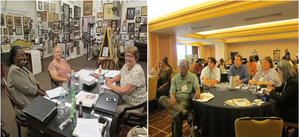 Photo to left, Museum consultant, Melanie Martin, Cheryl Walters and Dr. Alexandra Klinghoffer, CAP Conservation Assessor, completed her last visit to museum's study. Photo to right, President Jack Hadley attended the 98th Annual Association for Study of African American Life History and Culture Teachers' One Day Workshop in Jacksonville, Fl. Oct. 2013.