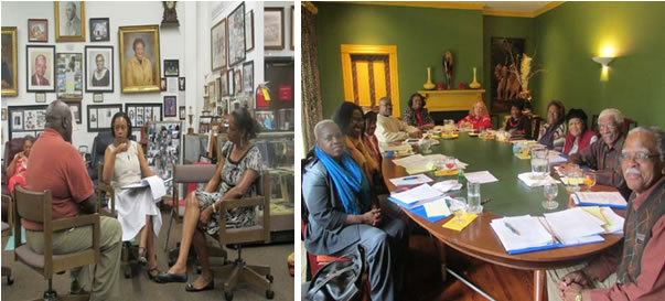 Photo to left:Dr. Hearn center, discusses the peer review  report with two community partners, Mr. Raymond Johnson and Mrs. Harriett Walden. Photo right: Museum board members and staff, in the museum's first workgroup retreat. This meeting focused on the recommendations given  as a result of the MAP program and Dr. Hearn's visit to the museum.
